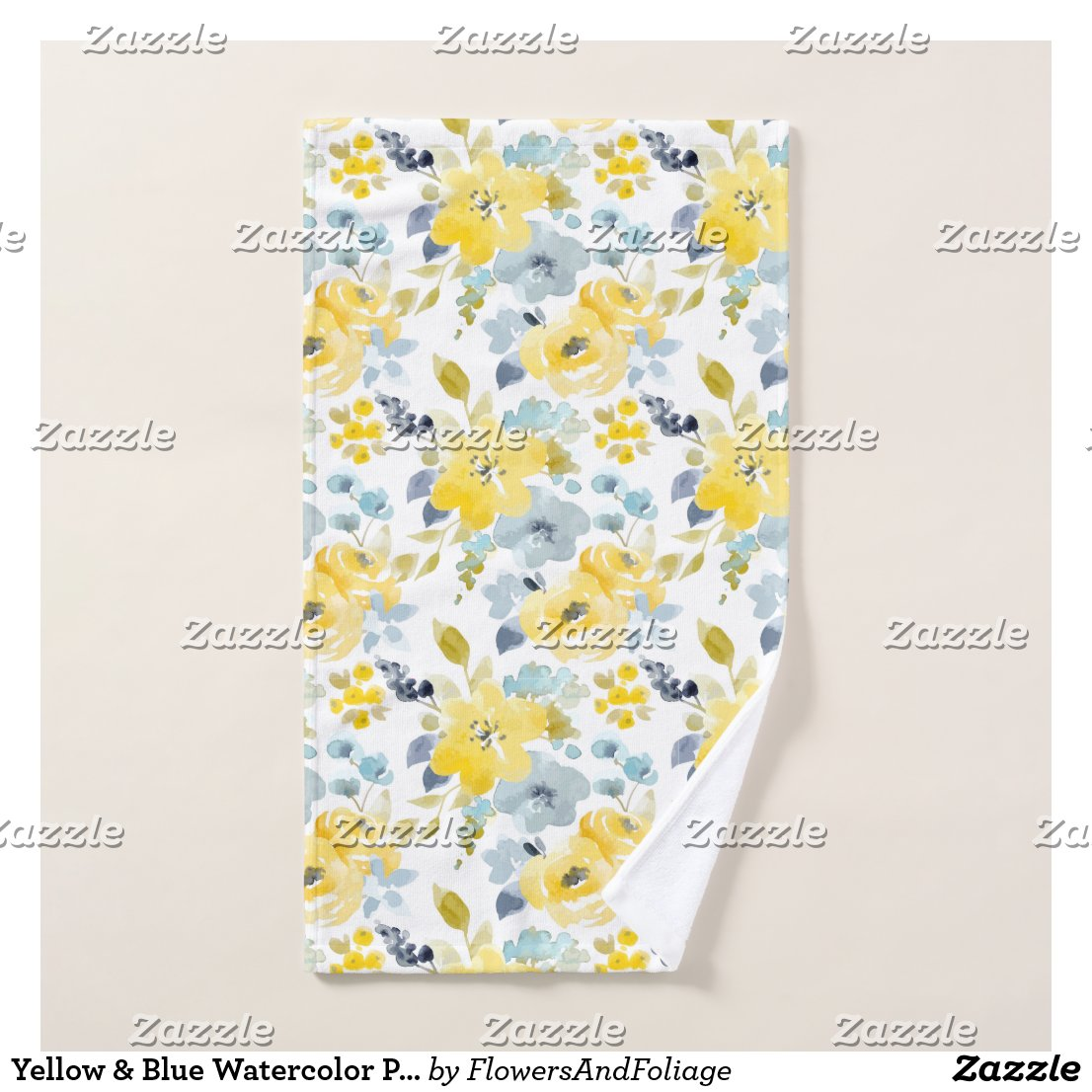 Yellow & Blue Watercolor Pattern Bath Towel Set