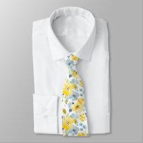 Yellow & Blue Watercolor Pattern Neck Tie