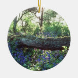 Yellow Bluebell wood, Howe Park Wood, Milton Keyne Double-Sided Ceramic Round Christmas Ornament