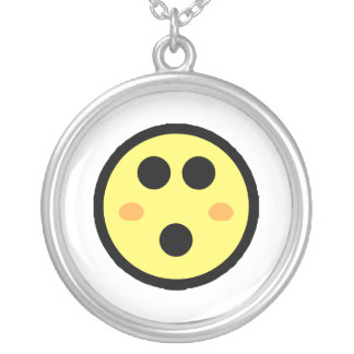 Yellow Blushing Smiley Face Round Pendant Necklace