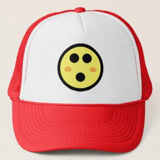Yellow Blushing Smiley Face Trucker Hat