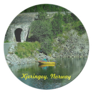 Yellow Boat in Northern Norway Plate