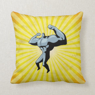 Yellow Bodybuilder Throw Pillow