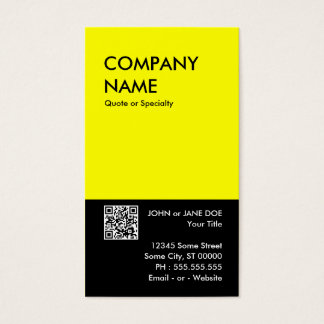 yellow bold design your own QR code Business Card