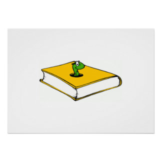 Yellow Book Worm Poster