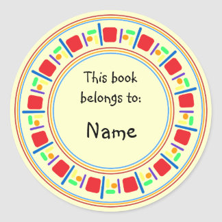 Yellow bookplate with colorful border