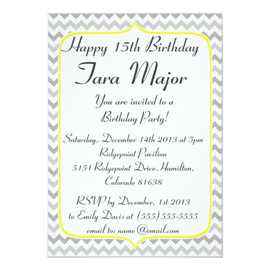 Yellow border and grey chevron birthday invitation zazzle yellow border and grey chevron birthday invitation filmwisefo