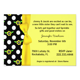 """Yellow Bow Baby Sprinkle Shower Invitation 5"""" X 7"""" Invitation Card"""