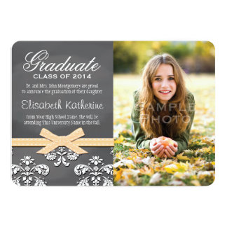 YELLOW Bow Chalkboard Lace Graduation Announcement