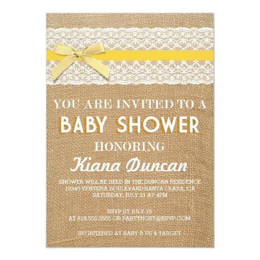 yellow bow lace burlap baby shower invitation zazzle