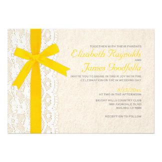 Yellow Bow Lace Wedding Invitations Invitations
