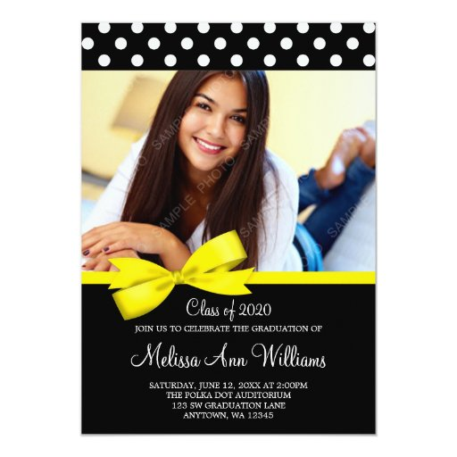 Yellow Bow Polka Dot Photo Graduation Announcement
