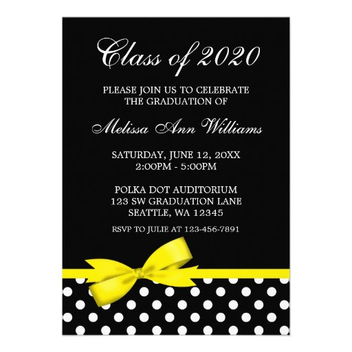 Yellow Bow Polka Dots Graduation Announcement