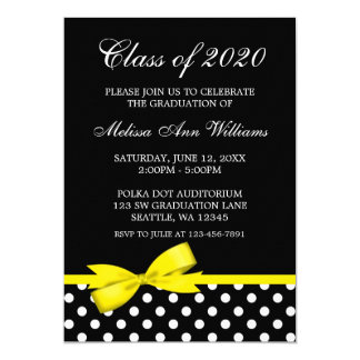 Yellow Bow Polka Dots Graduation Announcement