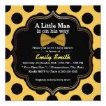 Yellow Bow Tie Polka Dots Little Man Baby Shower Invitation