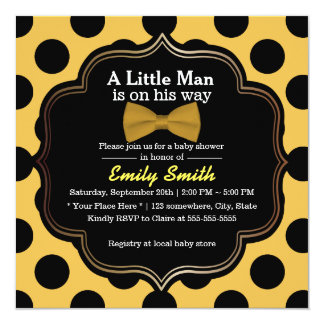 Yellow Bow Tie Polka Dots Little Man Baby Shower 5.25x5.25 Square Paper Invitation Card