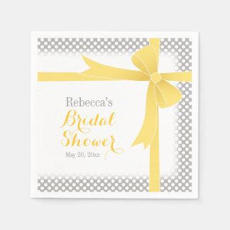 Yellow Bow & White Dots Bridal Shower Napkin