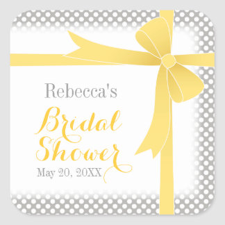 Yellow Bow & White Dots Bridal Shower Square Sticker
