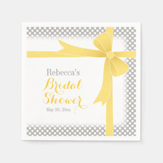 Yellow Bow & White Dots Bridal Shower Paper Napkins