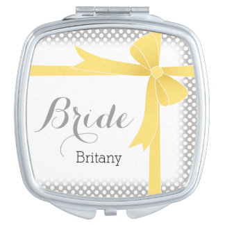 Yellow Bow & White Dots Personalized Bride Compact Mirror