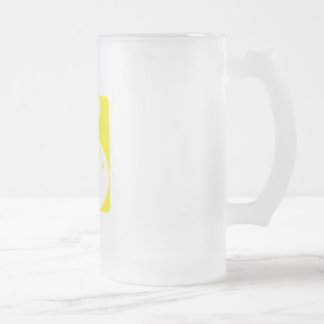 Yellow bowling 16 oz frosted glass beer mug