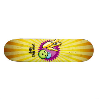 Yellow Bowling Ball; Pins Skate Board Decks