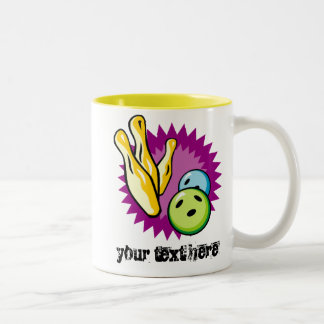Yellow Bowling Ball; Pins Two-Tone Coffee Mug