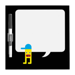 Yellow boy, blue cap dry erase board
