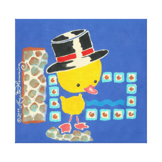 Yellow Boy Duckling with Top Hat Painting Canvas Print