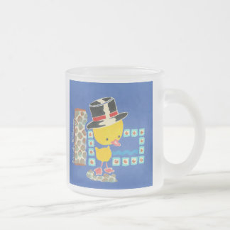 Yellow Boy Duckling with Top Hat Painting Frosted Glass Coffee Mug