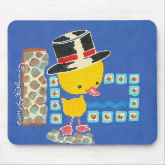 Yellow Boy Duckling with Top Hat Painting Mouse Pad