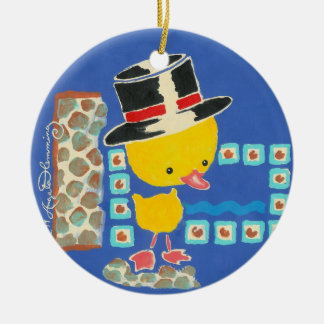 Yellow Boy Duckling with Top Hat Painting Christmas Tree Ornaments