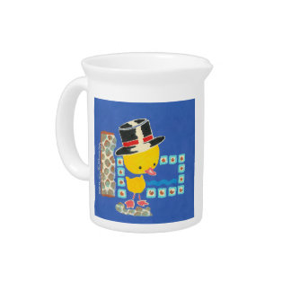 Yellow Boy Duckling with Top Hat Painting Beverage Pitcher