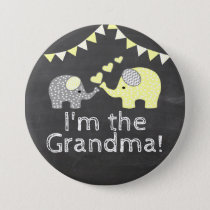 Yellow Boy Elephant Chalkboard  |  I'm The Grandma Button