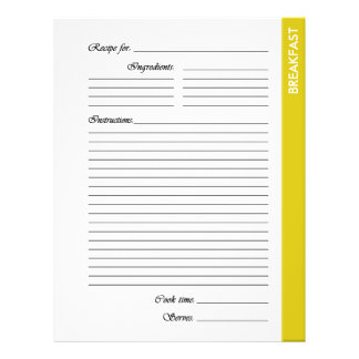 Yellow BREAKFAST 2-sided Recipe Pages