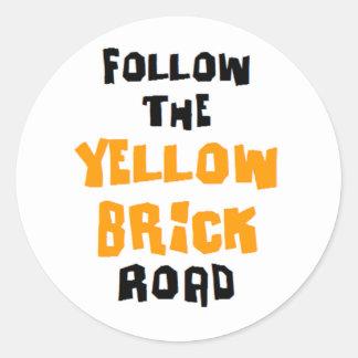 yellow brick road classic round sticker