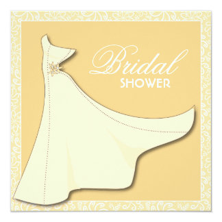 Yellow Bridal Gown - Bridal Shower Invitation