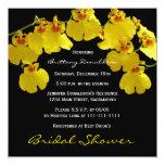 "Yellow Bridal Shower Invitation -- Yellow Orchids 5.25"" Square Invitation Card"