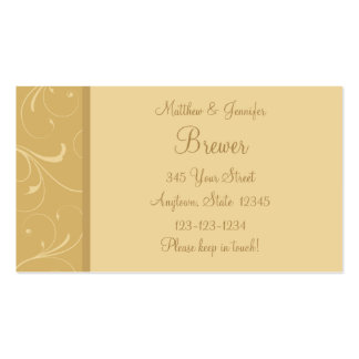 Yellow Bride and Groom Contact Information Card Business Card