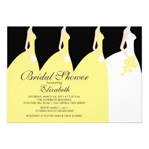Yellow bride bridesmaids bridal shower invitation 5 x 7 for Yellow bridal shower invitations