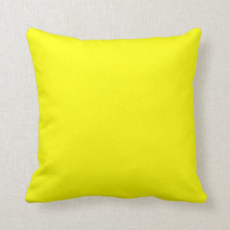 Yellow Bright Neon Lemon Butter Yellow Color Solid Throw Pillows