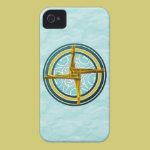 Yellow Brigid's Cross on Blue iPhone 4 Cover
