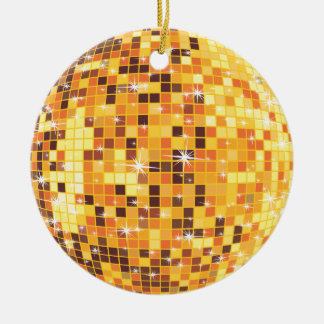 Yellow & Brow Tones Disco Ball Double-Sided Ceramic Round Christmas Ornament