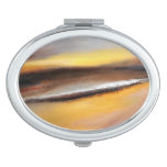 Yellow Brown Abstract Compact Mirror