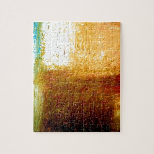 Yellow Brown Abstract Jigsaw Puzzle