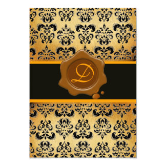 YELLOW BROWN AND BLACK DAMASK ,WAX SEAL MONOGRAM 5X7 PAPER INVITATION CARD