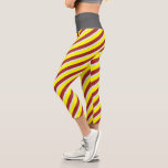 [ Thumbnail: Yellow, Brown, and Lavender Stripes Leggings ]