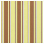 [ Thumbnail: Yellow, Brown, and Light Gray Stripes Pattern Fabric ]