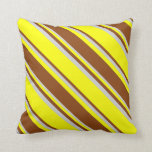 [ Thumbnail: Yellow, Brown, and Light Gray Stripes Pattern Throw Pillow ]