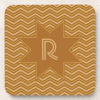Yellow & Brown Chevron Pattern coasters